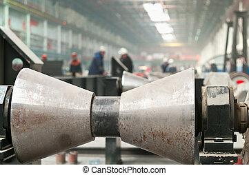 fabbricazione, formare, tubi per condutture, metallo, rimbombante, lavori in corso, rotolo
