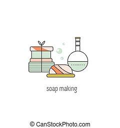 fabbricazione, linea, sapone, icona