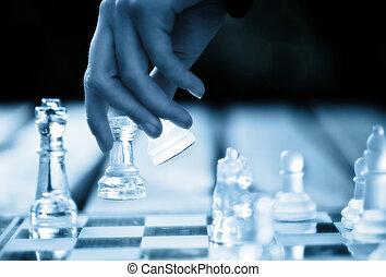 fabbricazione, spostare, scacchi, mano, vincente