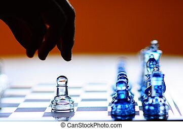 fabbricazione, spostare, scacchi, pegno, mano, silhouette