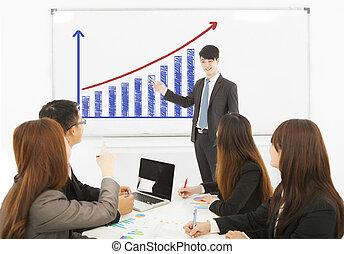fabbricazione, whiteboard, presentazione, uomo affari