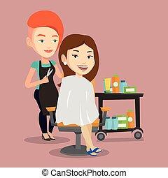 fabbricazione, woman., taglio capelli, giovane, parrucchiere