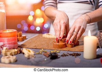 fabbricazione, zenzero, biscotti, su, natale