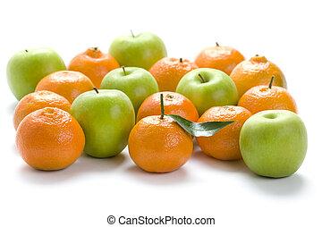 fabbro, isolato, arance, mele, fondo, nonna, bianco, ...