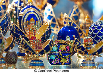 Faberge style Eggs at jewelry store window