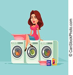 fabric., νοικοκυριό , πλένω , χαμογελαστά , concept., χαρακτήρας , απομονωμένος , νοικοκυρά , μηχανή , εξοπλισμός , οικιακή εργασία , πλυντήριο , δημόσιο , ευτυχισμένος , διαμέρισμα , γυναίκα , μπουγάδα , κάθονται , εικόνα , γελοιογραφία , πλύση , δωμάτιο , μικροβιοφορέας , μητέρα , ρούχα