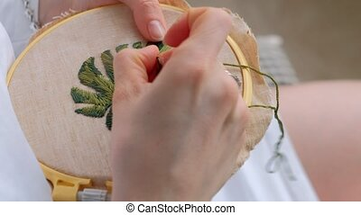 fabric., картина, женщина, лист, цветок, embroidering, crafts, главная
