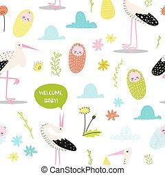 fabric., かわいい, シャワー, パターン, seamless, イラスト, 新生, ベクトル, 壁紙, 背景, 装飾, 赤ん坊, child., コウノトリ