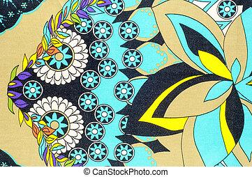 fabric., 青, ブラウン, patterns., 色, 背景, 緑, 花, 白い赤, 手ざわり