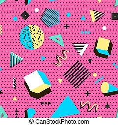 fabric., 90s, ファッション, elements., 型, 抽象的, 現代, pattern., seamless, ∥あるいは∥, 織物, 80s, よい, レトロ, vector., 最新流行である, 幾何学的, メンフィス, style., design.