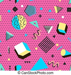 fabric., 90s, moda, elements., vendimia, resumen, moderno, ...