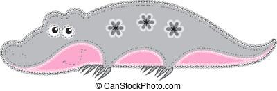 Fabric animal cutout. Crocodile