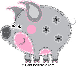 Fabric animal cutout. Pig - Applique' work in the form of...