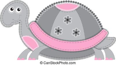 Fabric animal cutout. Turtle - Cute animal character in...