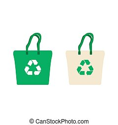 Fabric bag with recycling symbol.