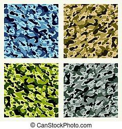 Fabric camouflage seamless patterns set