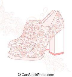 fabric., chaussures, vendange, dos, hauts talons, fleurs, à hauts talons