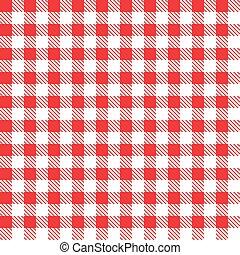 fabric., checkered, illustration., vecteur, rouges