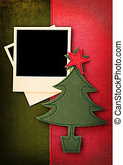 Fabric Christmas vintage card with photo frame