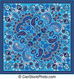fabric., chustka, paisley, skwer, szyja, próbka, ozdoba, styl, druk, wektor, projektować, druk, bandana, jedwab, albo, szalik