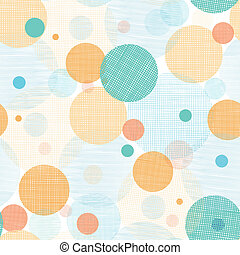 Vector fabric circles abstract seamless pattern background with hand drawn elements