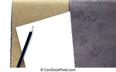 fabric color samples and pencil for designer