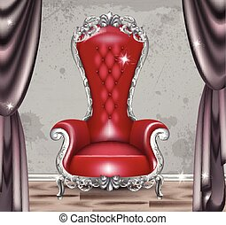 fabric., conceptions, armchair., charme, réaliste, victorien, vecteur, orné, baroque, meubles, rouges, 3d