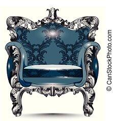 fabric., conceptions, armchair., réaliste, victorien, vecteur, luxe, baroque, 3d, meubles, orné
