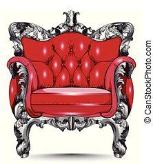 fabric., conceptions, armchair., réaliste, victorien, vecteur, orné, baroque, meubles, rouges, 3d