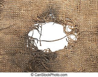 fabric., decayed., burlap, gescheurd, haveloos, linnen