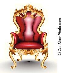 fabric., dorato, progetta, realistico, poltrona, isolato, fondo., vittoriano, vettore, ornato, glamourous, barocco, mobilia, bianco rosso, 3d