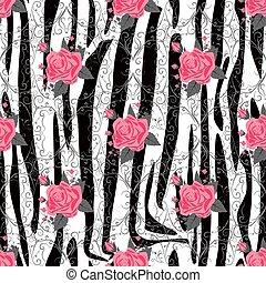 fabric., eps10, afisz, abstrakcyjny, zebra, banner., róża, pattern., seamless, próbka, zdumiewający, tło, czarnoskóry, zwierzę, pociągnięty, biały czerwony, pasy, ręka, tiger, dzieło, kreska, kwiaty, druk, skóra, illustration., florals, wektor, pasy