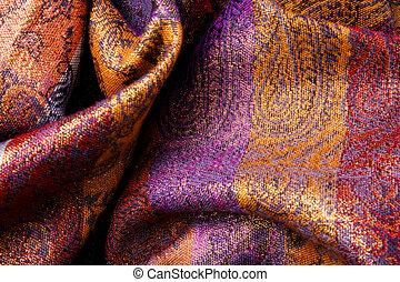 fabric, farverig, -, curvy, bølgede, baggrund, slør
