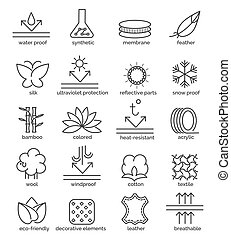 Fabric feature icons - Vector fabric feature icons. Cotton...