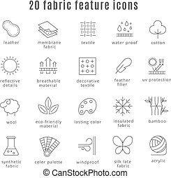 Fabric feature line icons. Comfort wear and lightweight, ...