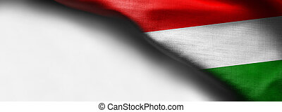 Fabric Flag of Hungary on white background - right top corner flag