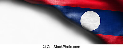 Fabric Flag of Laos on white background - right top corner