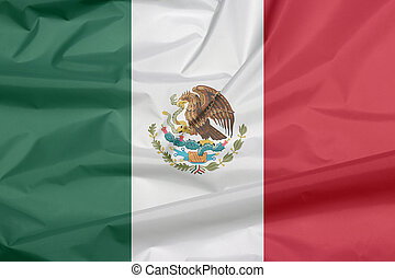 Crease of Mexican flag background, a vertical tricolor of green white and red with the nation Coat of Arms centered on white.