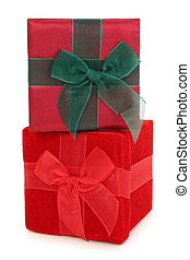 Fabric Gift Boxes Stacked - Red and green fabric gift boxes...