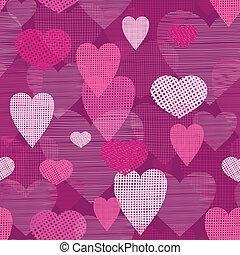 Fabric hearts romantic seamless pattern background