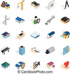 Fabric icons set, isometric style