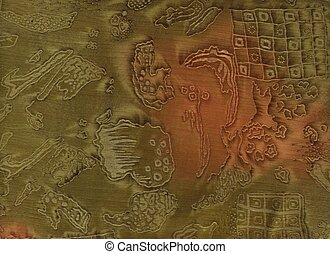 Fabric in moss green and rust with fantasy pattern