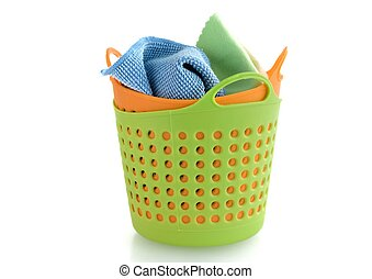 fabric in plastic basket isolated on white