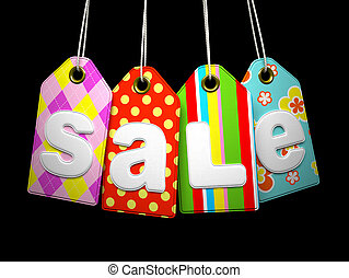 Fabric labels with SALE word on black background
