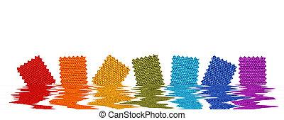 fabric, mønstre, ind, rendered, vand