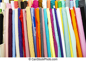 Fabric material with accessories from garment shop for Thai people and foreigner travelers walking select and buying in India Emporium at Little india Phahurat Market in Bangkok, Thailand