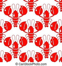 fabric., modèle, paper., emballage, seamless, illustration, impression, conception, crayfish., gabarit, lobsters., rouges