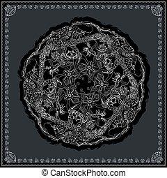 fabric., modelujcie zamiar, druk, czarnoskóry, biały, bandana