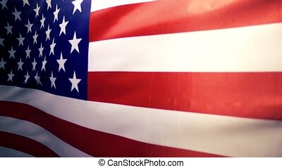 Fabric national flag of the United States of America, slow...