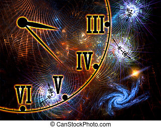 Interplay of time symbols, abstract forms and lights on the subject of space, time, relativity, cosmology, modern science and technology